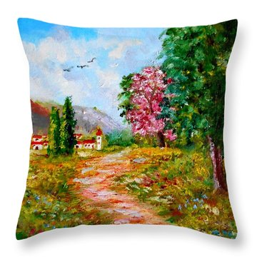 Country Pathway In Greece Throw Pillow