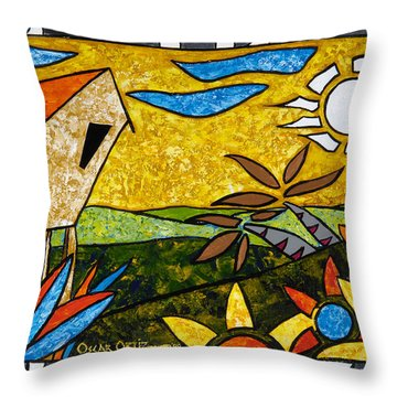 Country Peace Throw Pillow by Oscar Ortiz