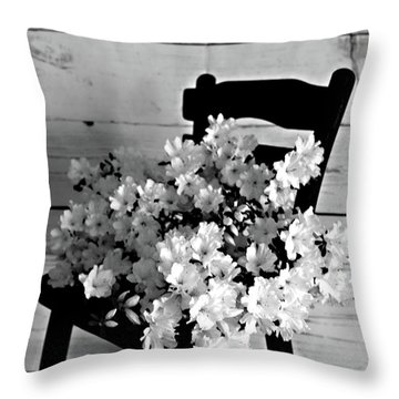 Country Porch In B And W Throw Pillow by Sherry Hallemeier