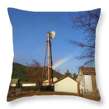 Throw Pillow featuring the photograph Country Rainbow by Mary Ellen Frazee