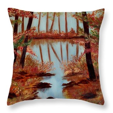 Throw Pillow featuring the painting Country Reflections by Leslie Allen