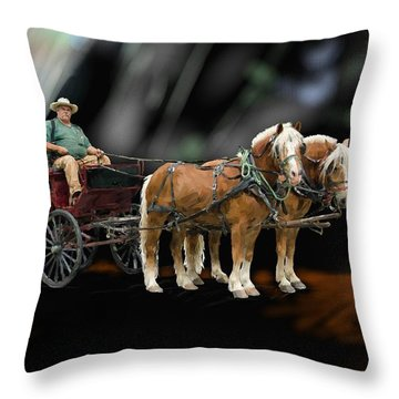 Country Road Horse And Wagon Throw Pillow