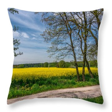 Country Road In The Rapeseed Field Throw Pillow