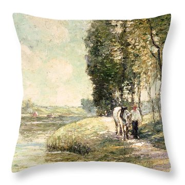 Country Road To Spuyten Throw Pillow by Ernest Lawson