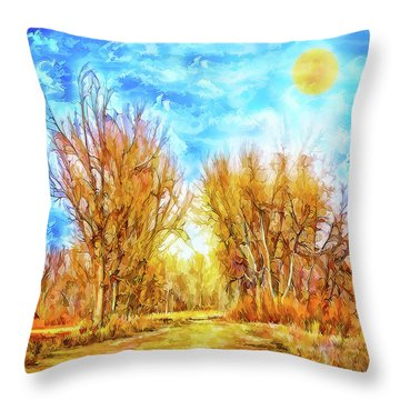 Country Road Wandering Throw Pillow
