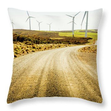 Country Roads And Scenic Windfarms Throw Pillow