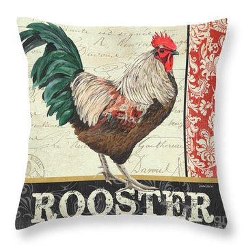 Throw Pillow featuring the painting Country Rooster 1 by Debbie DeWitt