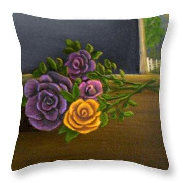 Country Roses Throw Pillow