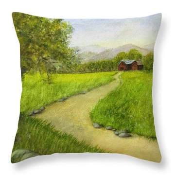 Country Scene - Barn In The Distance Throw Pillow