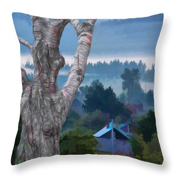 Country Side Morning Mist Throw Pillow