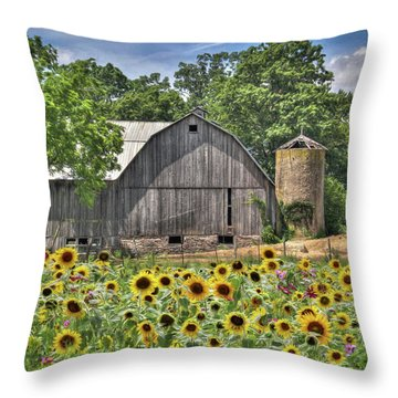 Country Sunflowers Throw Pillow by Lori Deiter