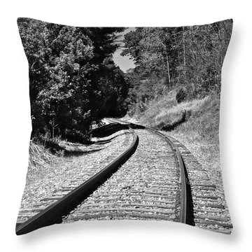 Country Tracks Black And White Throw Pillow