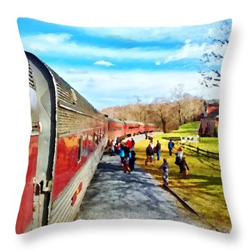 Country Train Depot Throw Pillow