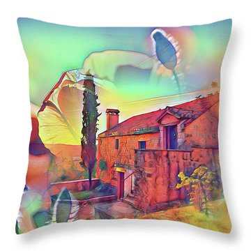 Country Villa Nestled In A Field Of Poppies Throw Pillow