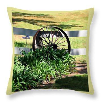 Country Wagon Wheel Throw Pillow