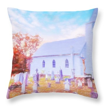 Country White Church And Old Cemetery. Throw Pillow