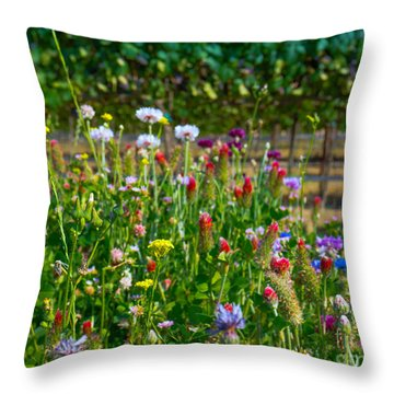Country Wildflowers II Throw Pillow