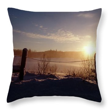 Country Winter Sunset Throw Pillow