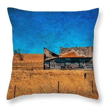 Countryside Abandoned House Throw Pillow
