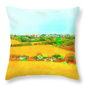 countryside  in Cornwall, UK Throw Pillow
