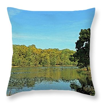 Countryside Netherlands, Lakes, Meadows, Trees, Digital Art. Throw Pillow