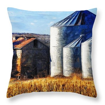 Countryside Old Barn And Silos Throw Pillow