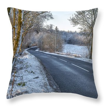 Countryside Road In Central Scotland Throw Pillow