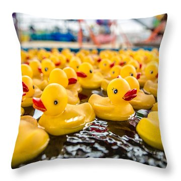 County Fair Rubber Duckies Throw Pillow by Todd Klassy