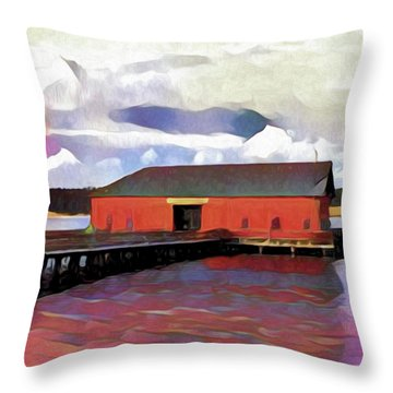 Coupeville Wharf Painterly Effect Throw Pillow