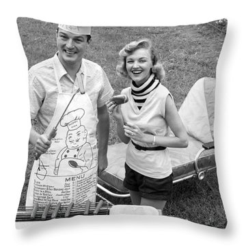 Couple Cooking Out, C.1950s Throw Pillow