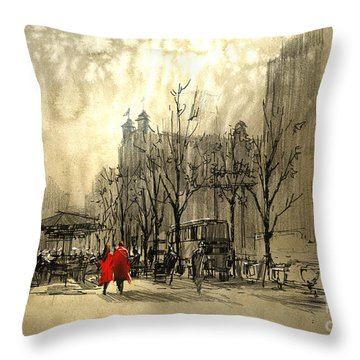 Couple In City Throw Pillow