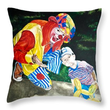 Throw Pillow featuring the painting Couple Of Clowns by Lance Gebhardt