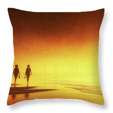 Couple Of Women Walking On Beach Throw Pillow