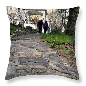 Couple On A Garden Path Throw Pillow