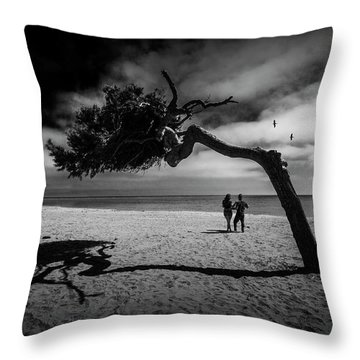 Throw Pillow featuring the photograph Couple On Cabrillo Beach By Los Angeles California by Randall Nyhof