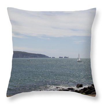 Couple Relaxing  Enjoying The View Throw Pillow by Gillian Dernie