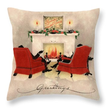 Couple Sitting Before Roaring Fireplace On Christmas Eve Throw Pillow