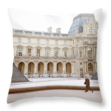 Throw Pillow featuring the photograph Couple Strolling At Louvre Museum  by Ivy Ho