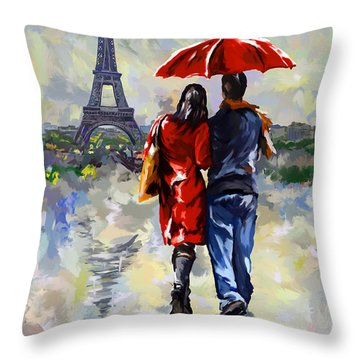 couple walking in the rain Paris Throw Pillow