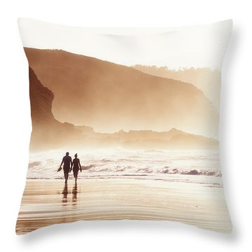 Couple Walking On Beach With Fog Throw Pillow
