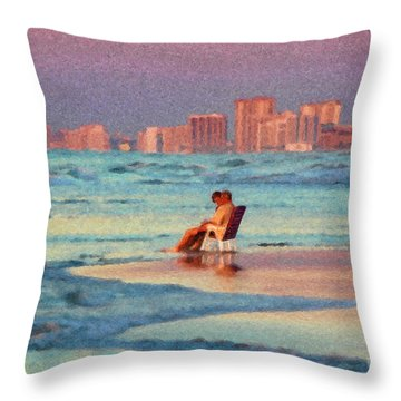 Couple Watching The Sunset Throw Pillow