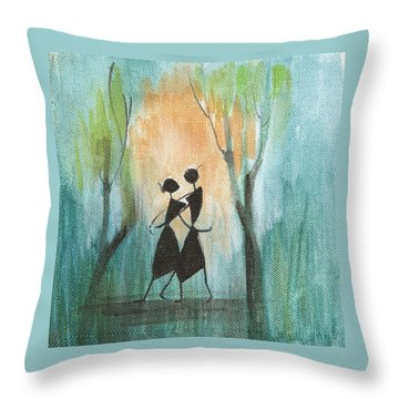 Couples Delight Throw Pillow by Chintaman Rudra