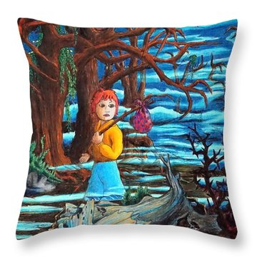 Throw Pillow featuring the painting Courage ... by Matt Konar
