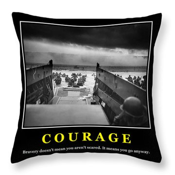 Courage -- D Day Poster Throw Pillow
