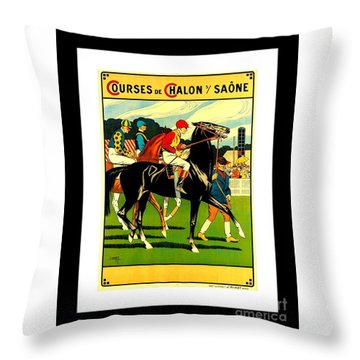 Courses De Chalon French Horse Racing 1911 II Leon Gambey Throw Pillow