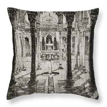 Court Of Lions, Alhambra Palace Throw Pillow
