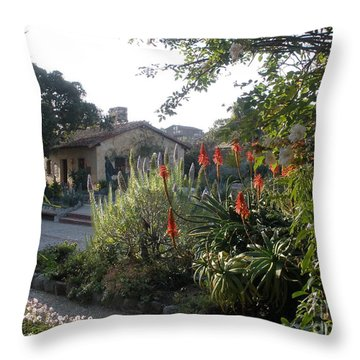 Court Yard At Mission Carmel Throw Pillow