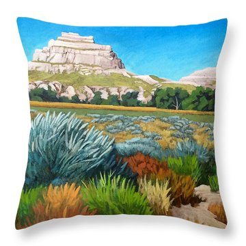 Courthouse And Jail Rocks Acrylic Throw Pillow