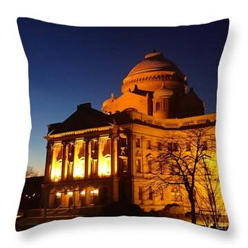 Courthouse At Night Throw Pillow