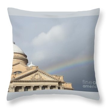 Courthouse Rainbow Throw Pillow